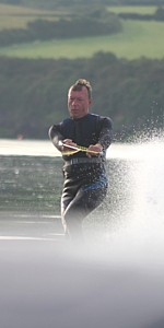 water skiing at Rock Estuary in Cornwall